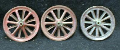 3 Old Metal Wheels Erector Set (?) Parts