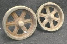 Rubber & Steel  Wheels Set OLD Toy Parts 3