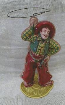 CELLULOID Western COWBOY Windup Lasso Old Toy