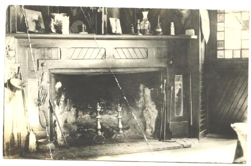 Old Antique Post Card Old Fashioned Fireplace