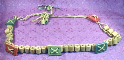Old Vintage Child's Wood BEADS & BLOCKS String Belt