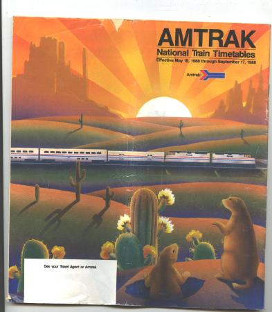 Old Amtrak National Train Timetables 1988