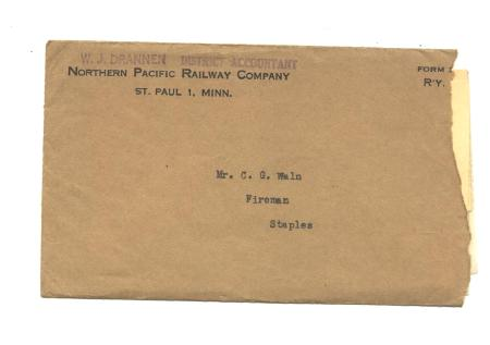 Old Northern Pacific Railway 1955 Envelope & Letter Minnesota Railroad