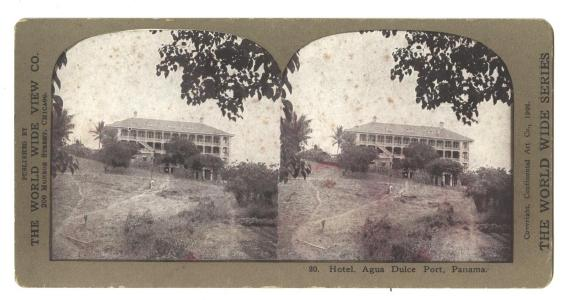 Stereoview Card PANAMA CANAL Hotel Agua Dulce Port - Antique