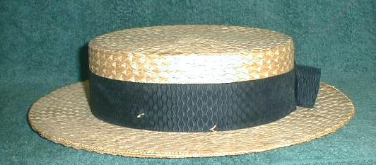 Antique Straw Boater Hat Black Ribbon - NICE