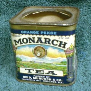 Old MONARCH Tea Tin Container Can Paper Label - LION