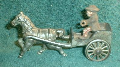 Old 1880 Cast Iron Horse Drawn Cart ORIGINAL Toy