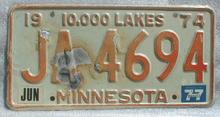 1974 Minnesota License Plate