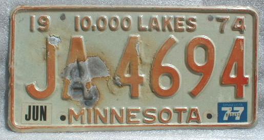 1974 Minnesota License Plate