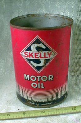 Old SKELLY Motor Oil Metal Can 1 quart