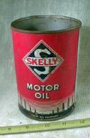 Old SKELLY Motor Oil Metal Can 1 quart