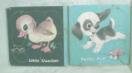 2 Old Vintage Puzzles Little Duck Puppy Dog Mouse