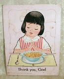 Old Vintage Puzzle Girl Praying Thank You, God