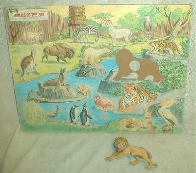 Old Puzzle Zoo Animals Saalfield Lift Out Pre-School
