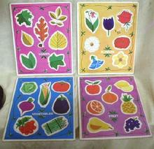 4 Old Nature Puzzles Fruit Leaves Flowers Vegetables