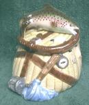 New Fish Creel Cookie Jar Trout Fishing Tackle