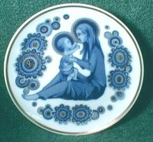 Old Christmas Collector Plate Cobalt Blue Navidad 1976