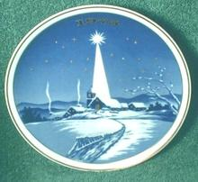 Old Christmas Collector Plate Cobalt Blue Church 1975