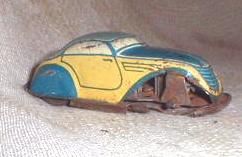 Old German Tin Litho Toy WIND UP Car - US Zone Germany