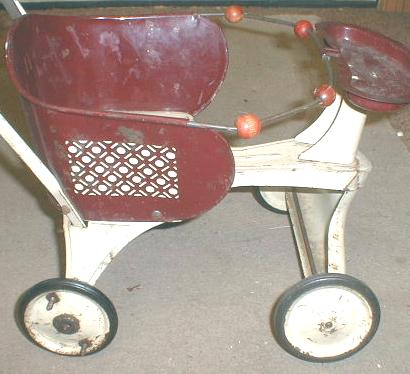 Old TURNER Baby Doll Buggy Metal Maroon & Cream Color