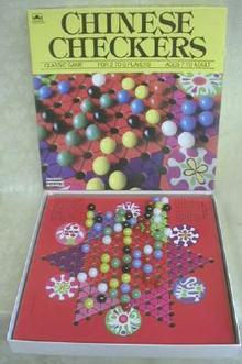 Old Chinese Checkers Classic Game Golden Complete
