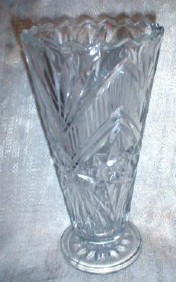 Old Czechoslavakian Crystal Vase Pedestal Base