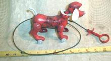 Old  Mechanical  Dog Toy - Barking / Walking Red Plastic