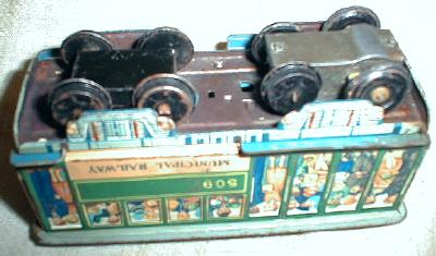 Antique Tin Litho Friction Toy Streetcar Trolly Railway