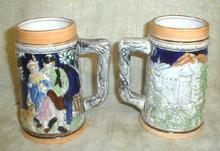 2 Old Beer Steins Mugs Cups JAPAN - COLORFUL!