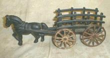 Old Cast Iron KENTON Hay Wagon w/ Horse ORIGINAL RARE!