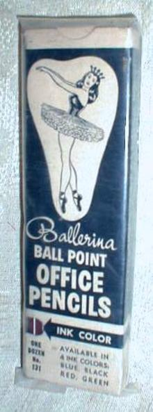 Old 1950 's NOS Ballerina Office Pencils ORIGINAL Box!