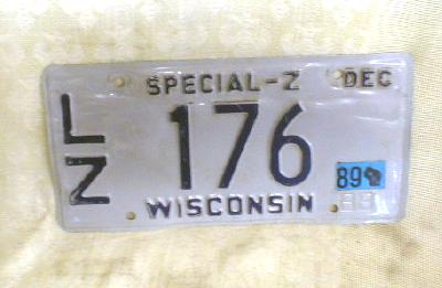 Old WISCONSIN License Plate Special - Z GREY  1988
