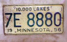 MINNESOTA License Plate Old 1956