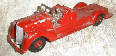 HUBLEY Toy Fire Truck Engine w/ Driver - Old 1930's