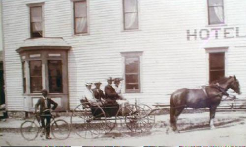 Antique Photograph Horse Buggy Hotel  Granite Falls, MN.