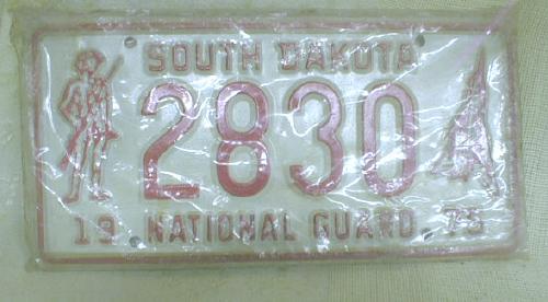 2 National Guard License Plates South Dakota  NOS 1975 S. D.  MIP