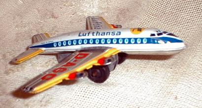 Old LUFTHANSA Airlines Airplane Tin Litho Friction Toy