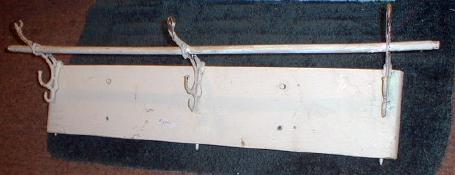 Antique Wood Coat Rack with Fancy Metal Brackets