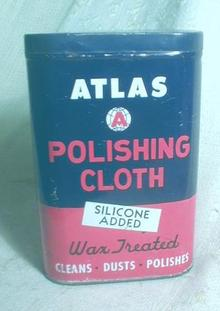 Old ATLAS Polishing Cloth Tin Container Can COLORFUL!
