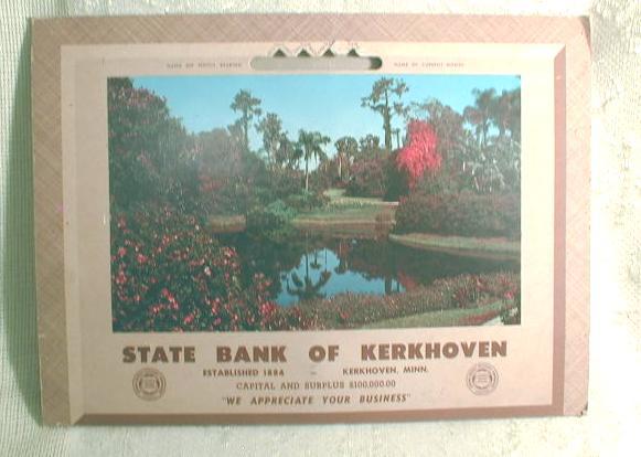 State Bank of Kerkhoven MN Old 1961  Calendar Park Scene