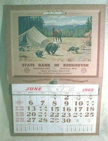 State Bank of Kerkhoven Minnesota Old 1966 Calendar Cowboys