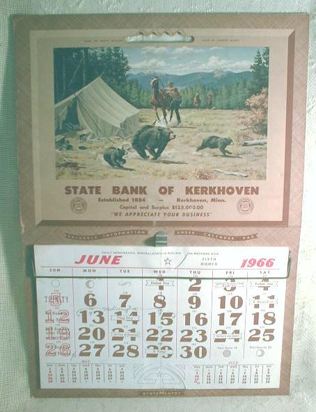 State Bank of Kerkhoven Minnesota Old 1966 Calendar Cowboys
