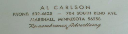 Marshall, MN Advertising Carlson Nice Old ADDRESS Desk File
