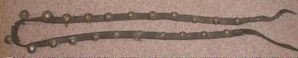 22 BRASS Sleigh Bells on Leather Belt Over 6 Feet Long! - OLD!
