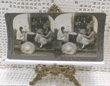 Stereo View Card - Shaping Panama Hats, Ecuador