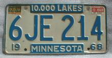 1968 Minnesota License Plate