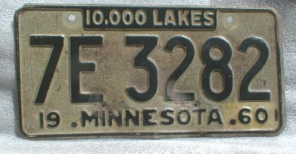 1960 Minnesota License Plate
