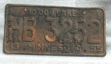 1955 Minnesota License Plate