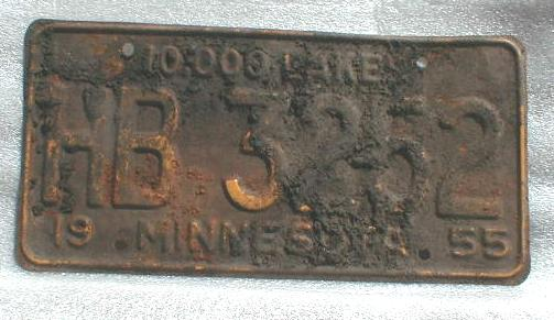 1955 Minnesota License Plate