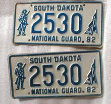 Pair of1982 South Dakota National Guard License Plate